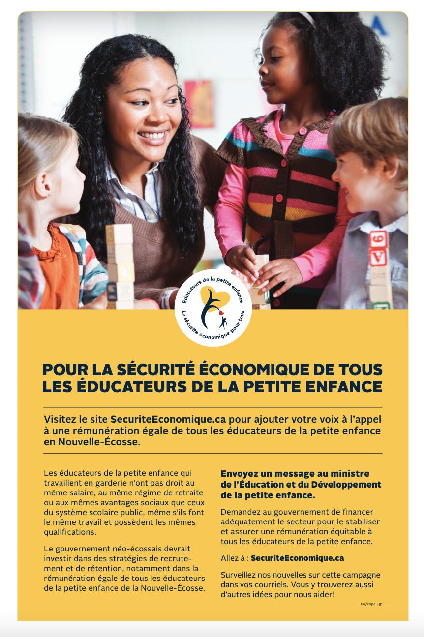 Affiche : la sécurité économique de tous les éducatrices et éducateurs de la petite enfance